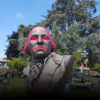 The bust of George Washington was splattered with red paint before it was removed from Watsonville Plaza.