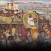 Dozens of people in a market with the Great Tenochtitlan in the background