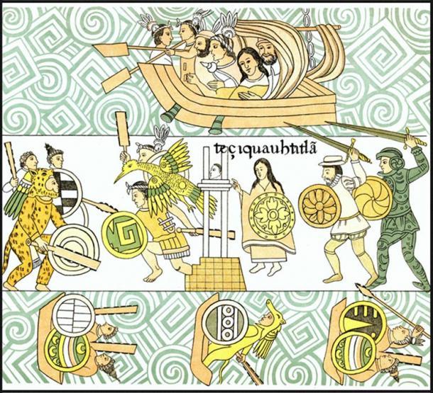 4-Conquistadors-and-allies-attack-Aztecs